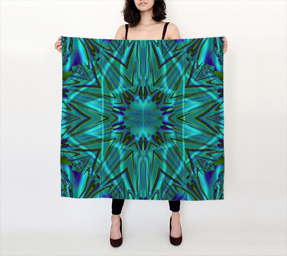 Blue Green Kaliedoscope scarf modeled